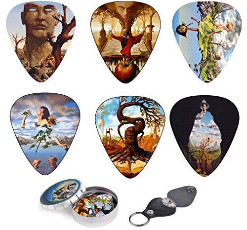 Set de 12 púas de guitarra con caja para guardar púas y llavero portapúas – Juego de púas de celuloide de dureza media con obras inspiradas en Salvador Dalí – Ideal como regalo – Art Tributes