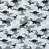 Baumwollstoff Popeline Camouflage Dinos grau - Preis gilt