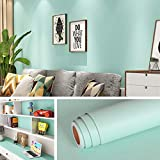 Livelynine 15.8X394 Inch Light Blue Wallpaper Peel and Stick Wall Paper Sticker Pull and Stick Kids Room Boys Living Room Wall Kitchen Cabinets Bathroom Vinyl Peel and Stick Removable Wallpaper Blue