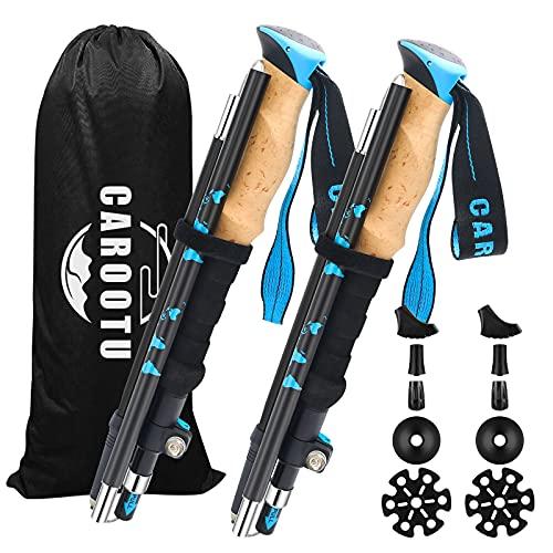 Bastones de senderismo telescópicos ajustables 7075 de aleación de aluminio con cierre rápido ajustable, plegables, ultraligeros para senderismo, color azul