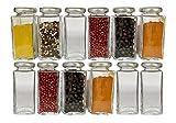 mikken 12 x Gewürzglas eckig 100 ml Einmachglas Glasdose mit