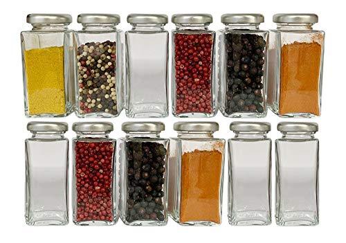 mikken 12 x Gewürzglas eckig 100 ml Einmachglas Glasdose mit Schraubverschluss
