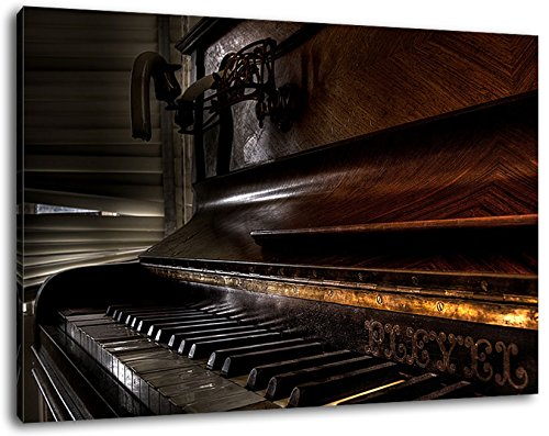 altes Klavier schwarz-weiß , Format:100x70 cm, Bild auf Leinwand bespannt, riesige XXL Bilder komplett und fertig gerahmt mit Keilrahmen, Kunstdruck auf Wand Bild mit Rahmen, günstiger als Gemälde oder Bild, kein Poster oder Plakat