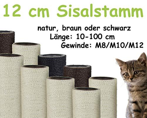 Kratzbaumland 12 cm Sisalstamm, Ersatzstamm für Kratzbaum: Länge: 45 cm, Gewinde - 10 mm (M10), Farbe des Sisalseils - Natur