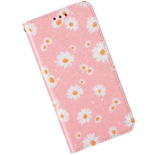 Price comparison product image Qjuegad Compatible with Samsung Galaxy Note 10 Case Wallet Pink Leather Flip Cover Glitter Protection Cover Shockproof Magnetic Closure Full Body Case with ID Card Holder / Hand-Free Stand