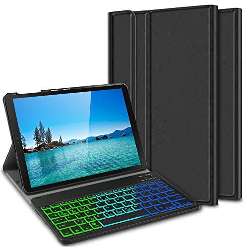 ELTD Tastatur Hülle für Samsung Galaxy Tab A 10.5 (Deutsches QWERTZ-Layout),Hülle mit 7 Farben LED-Hintergr&beleuchtung Kabellose Tastatur für Samsung SM-T595/T590 Galaxy Tab A 10.5 Zoll 2018 (Ink)
