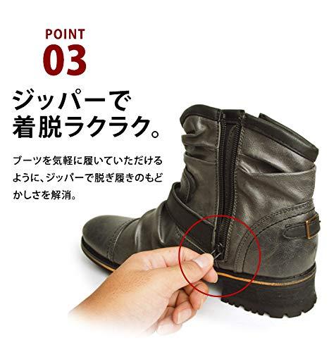 『[ジーノ] ドレープ エンジニアブーツ ショートブーツ ワークブーツ ブーツ サイドジップ メンズ 靴』の5枚目の画像