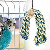 HEEPDD Loro Colorido Cuerda Juguete Natural Algodón Columpio Pájaro Masticar Morder Colgante Juguete Jaula Decoración para Jugar y Aljear Se Adapta a Pájaros Pequeños y Medianos
