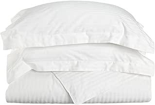 100% Premium Combed Cotton 300 Thread Count King/California King 3-Piece Duvet Cover Set Stripe, White
