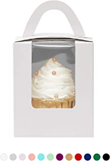 Yotruth White 100 Pack Single Cupcake Boxes Cardboard Paper with Insert (Typical Series)