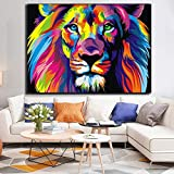 Bunte Wilde Tiere Drucken auf Leinwand Wandkunst Bild Cuadros Artwork Gedruckt auf Leinwand Malerei Home Decor Wohnzimmer,Rahmenlose Malerei,60x90cm
