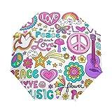 SUHETI Paraguas automático de Apertura/Cierre,Peace Love and Dove Flower Power Groovy Psychedelic Notebook Doodles Set,Paraguas pequeño Plegable a Prueba de Viento