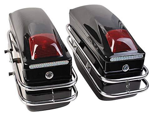 Motorcycle Saddlebags Hard Trunk SaddleBags Luggage For Scoorer Cruiser w Lights Mounted Black 2 Pcs