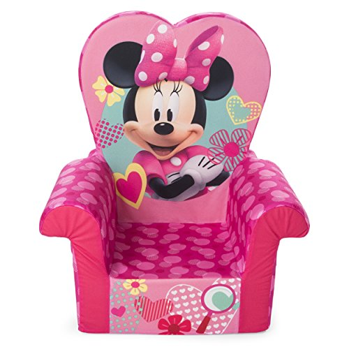 Marshmallow Furniture Foam Toddler Comfy Chair Kid's Furniture for Ages 18 Months and Up, Minnie Mouse, Pink