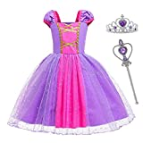 Girls Rapunzel Dress Princess Costume Party Dress up Halloween Cosplay with Crown Mace Size 90,1-2 Years,Purple 3 PCS