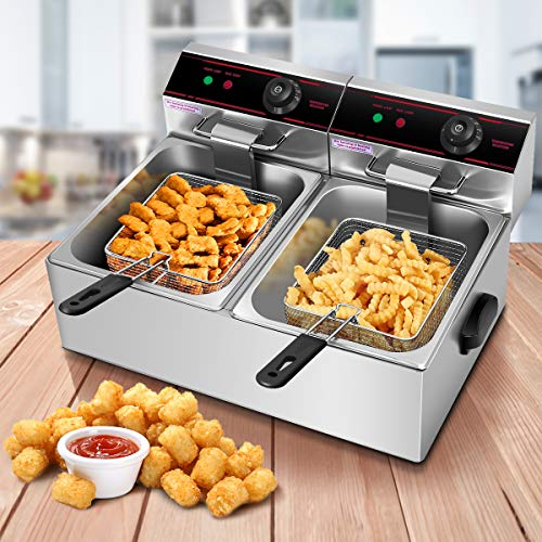 Safstar Professional Electric Deep Fryer, Dual Tank Stainless Steel Chicken Chips Fryer with Basket Scoop for Commercial Restaurant Countertop Family Food Cooking