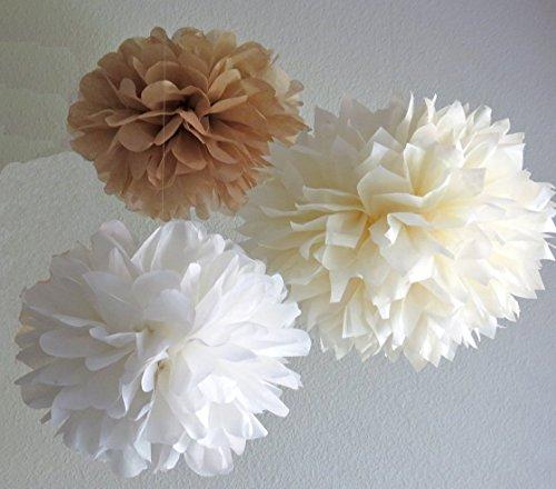 Sorive® 12PCS White Ivory Tan Tissue Paper Pom Poms Pompoms Flower Ball Wedding Birthday Anniversary Party Christmas Home Decoration SRI01859