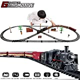 Temi Electric Classical Train Sets with Steam Locomotive Engine, Cargo Car and Tracks, Battery Operated Playset Toy w/ Smoke, Light and Sounds, Perfect for Boys & Girls 3 Years and up