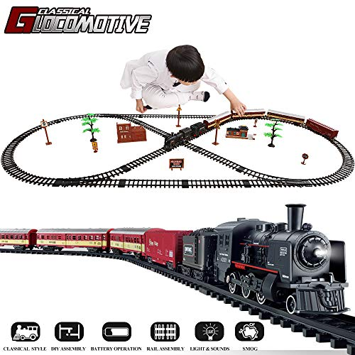 TEMI Electronic Deluxe Railway Train Sets w/ Steam Locomotive Engine, Cargo Car and Tracks, Battery Operated Play Set Toy w/ Smoke, Light & Sounds, Perfect for Kids, Boys & Girls, Black
