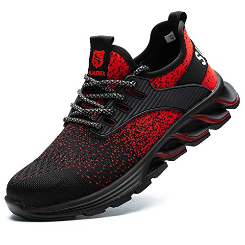 SUADEEX Zapatos de seguridad para hombre y mujer, con puntera de acero, zapatos de...