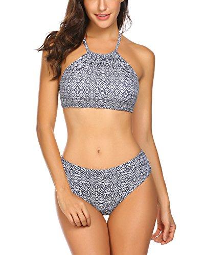 Bikini für Mollige Damen Bademode Zweiteilige Tankini Set Push Up Badeanzug Strandkleidung Neckholder Strandmode Sport Split Blumen Bikinihose