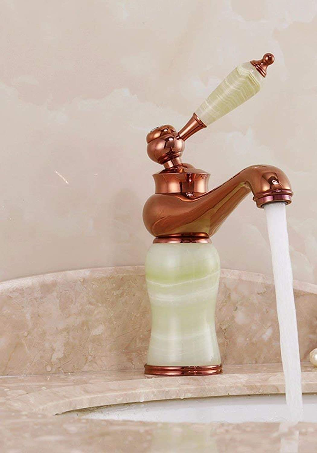 Hhgold The European style copper gold jade basin hot and cold water tap