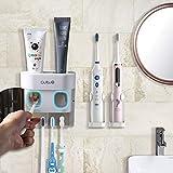 BesLife Distributeur automatique de dentifrice à fixation murale, livré avec 2 supports de brosse à dents électriques, avec couvercle anti-poussière