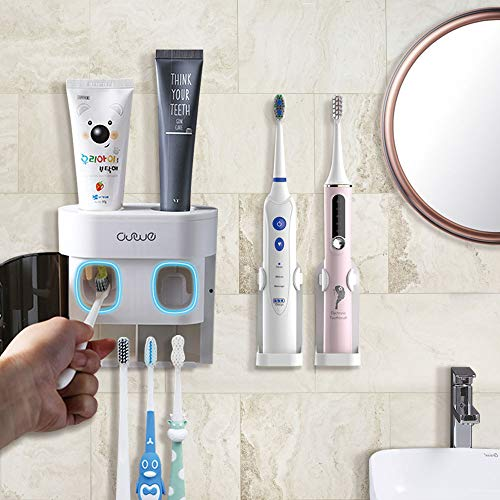 BesLife 2 Automatic Toothpaste Dispenser Wall Mounted, Come with 2 Electric Toothbrush Holder, with Dustproof Cover, 4 Toothbrush Slots for Shower Bathroom