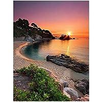 5DDiyダイヤモンド絵画サンセットビーチクロスステッチダイヤモンド刺繡風景海辺のモザイク画像ラインストーン45x34cm