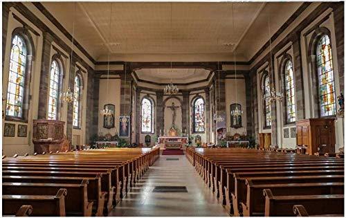MINCOCO Benutzerdefiniertes Foto 3d Tapete Europäische ländliche christliche Kirche Bank Hintergr& Dekor Raum 3d Wandbilder Tapete, 350x245 cm (137.8 by 96.5 in)