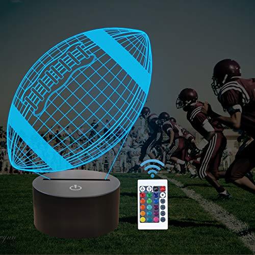 American Football 3D-Licht, 3D-Rugby-Licht, FULLOSUN 16 Farben Automatische Änderung mit Fernbedienung Touch-Schalter Schreibtisch Dekoration Lampen Geburtstag Weihnachtsgeschenk für Kinder Freunde