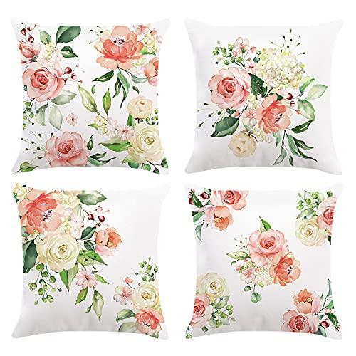 Bonhause 4er Set Kissenbezüge 45 x 45 cm Blumen Pfingstrosen Rosa Samt Soft Dekorative Kissenhülle Zierkissenbezüge für Sofa Schlafzimmer Wohnzimmer Auto Zuhause Dekoration
