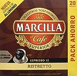 MARCILLA Café Espresso Ristretto Intensidad 12 - 20 Cápsulas de aluminio compatibles con...