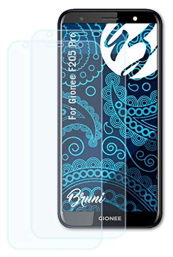 Bruni Schutzfolie kompatibel mit Gionee F205 Pro Folie, glasklare Bildschirmschutzfolie (2X)