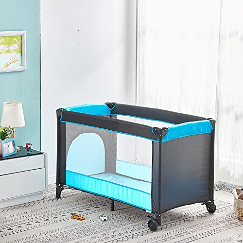 Baby Baby Crib with Mattress 125 x 66cm, Folding Travel Cot and Playpen (Birth to 3Y), Portable Infant Nursery Center Playard with Wheels, Carrying Bag, Toddler Travel Bed, Black-Blue
