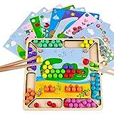 Juguetes de Madera NiñOs Juguetes Montessori Puzzles Infantiles Educativos Juego de Cuentas de Clip Regalo de Cumpleaños para Niños Niñas de 3 4 5 Años, 93 Piezas