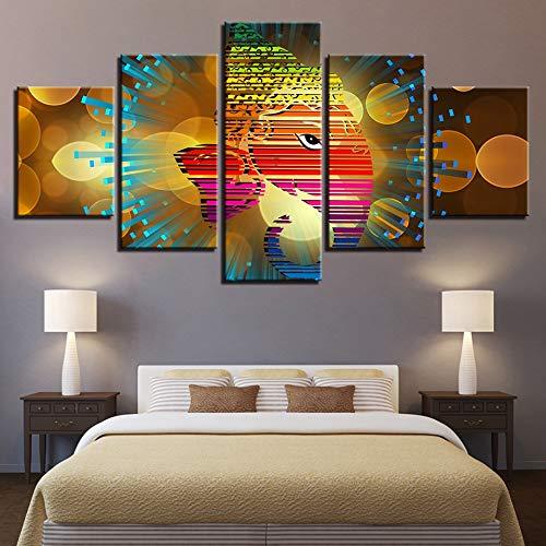 sanzangtang Rahmenloses Gemälde Dekorieren Sie 5 HD indische religiöse Ganesha-GemäldeZGQ1223 40x60cmx2, 40x80cmx2, 40x100cmx1