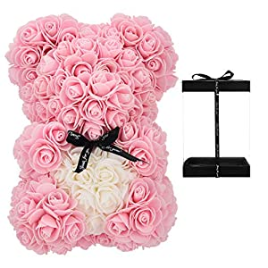 Gift for Women,Rose Bear Artificial Flowers Flower Teddy Bear, Unique Gifts, Gifts for Girls, Gifts for mom, Girlfriend gifts-10 Inch