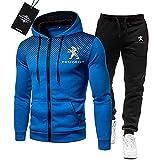 MAUXpIAO de Los Hombres Chandal Conjunto Trotar Traje Peu-geot Hooded Zipper Chaqueta + Pantalones Deporte R Deportes/blue/L