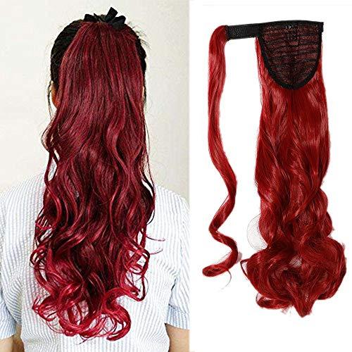 Queue de Cheval Extension de Cheveux Synthétique Ondulé - Wrap Around Ponytail Clip in Hair Extensions - 24 pouces - Rouge Sombre