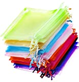 BOBOZHONG Bolsas Organza,Bolsa de Regalo de Hilo con cordón de 100 Piezas,Bolsas de Organza con cordón Transparente de 3.5X 4.7 Pulgadas para Boda/Fiesta/Regalo/joyería, 10 Colores