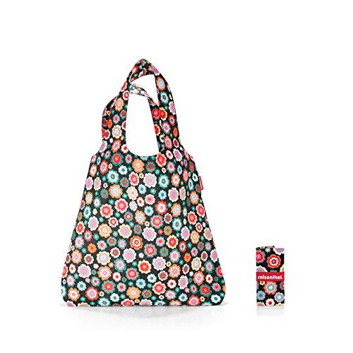 reisenthel AT7048 mini maxi shopper happy flowers – Einkaufsbeutel mit 15l Volumen bei winzigem Packmaß – B 43,5 x H 63 x T 6 cm