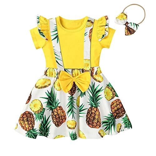 2021 Maluch dzieci dziewczynka T-shirt falbany topy + owoc kwiatowa kokarda szelki spódnice zestaw