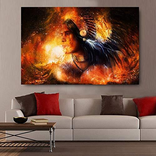 Indischer Krieger im kosmischen Raum Coole HD-Wandplakate für Wohnzimmer Leinwand Ölgemälde Home Decor Bilder 60x90cm