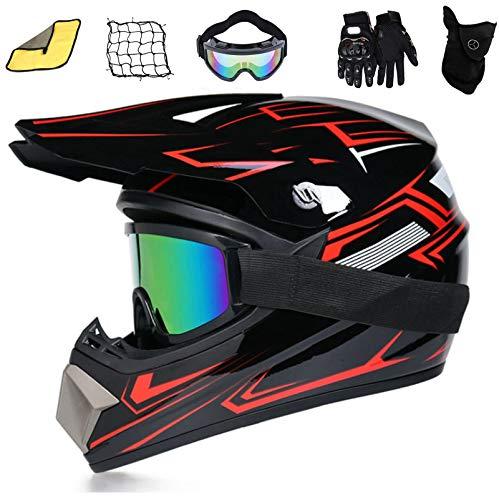 ASDGY Fahrrad Kinderhelm Integralhelm Downhill Helm,Helm Safe Classic Fahrrad MTB Racing Helm Motorradhelm,Motocross Helm,Helm Kinder,Helmets Kinder-Cross-Helm, (S(55-56cm))