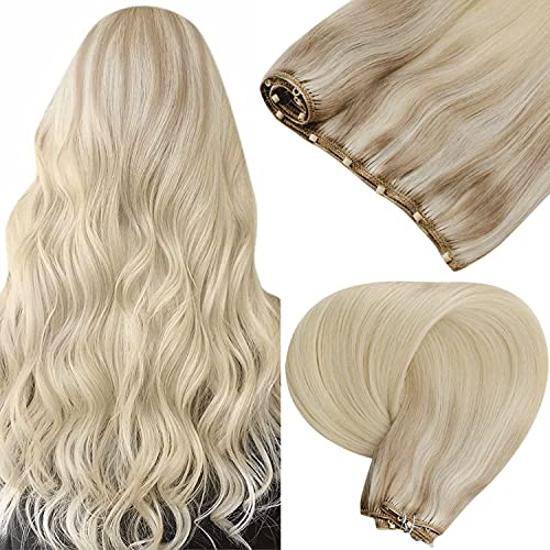 Micro Weft Extensions Blonde LaaVoo Balayage Micro Ring Beaded Weft Extensions Ash Blonde Balayage Medium Blonde and...