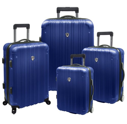 Traveler's Choice New Luxembourg Lightweight Expandable Spinner Luggage Set, Blue, 4-Piece