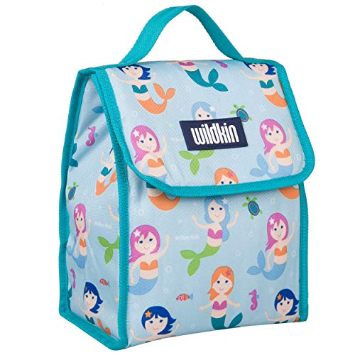 Wildkin Kids Insulated Lunch Bag for Boys and Girls, Lunch Bags is Ideal Size for Packing Hot or Cold Snacks for School and Travel, Mom's Choice Award Winner, BPA-Free, Olive Kids (Mermaids)