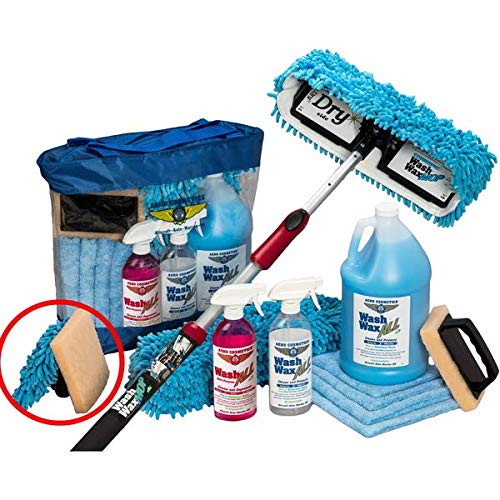 Aero Cosmetics Waterless RV Aircraft Boat Wash Wax Mop with Deluxe Pole Kit and Bug Scrubber/Mini Mop No Ladder Needed Wash Wax Dry Anywhere Anytime No Restrictions