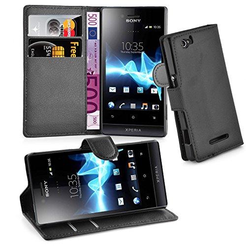 Cadorabo Hülle für Sony Xperia M - Hülle in Phantom SCHWARZ – Handyhülle mit Kartenfach & Standfunktion - Case Cover Schutzhülle Etui Tasche Book Klapp Style